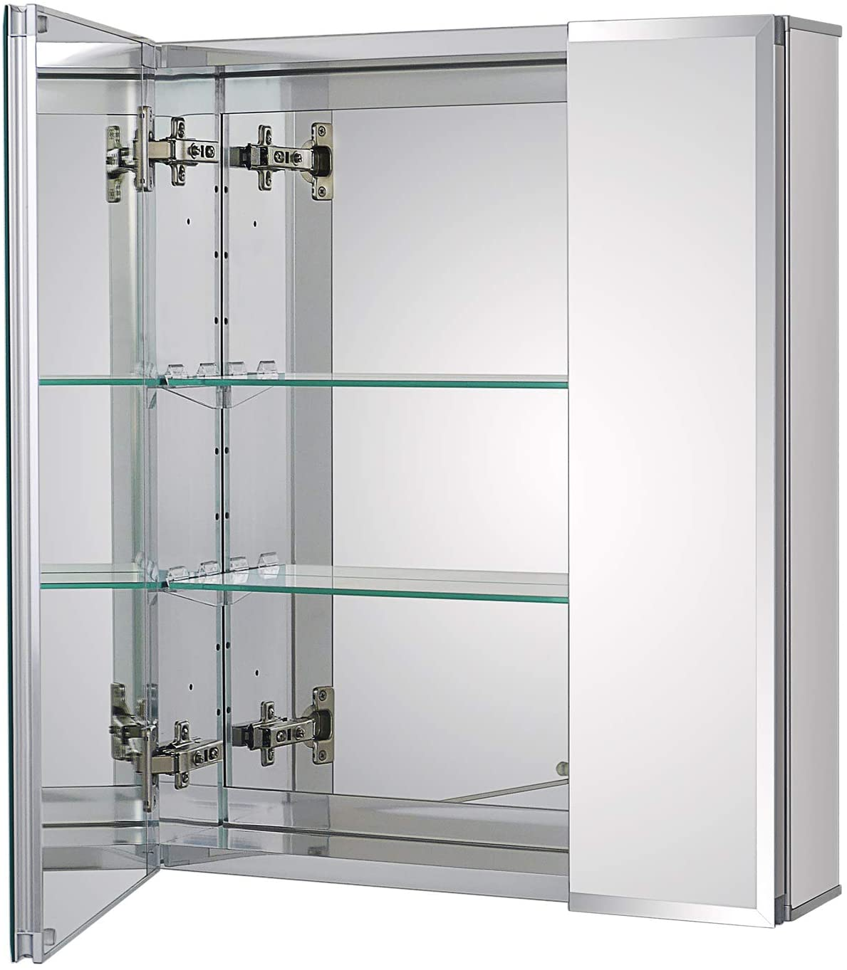 Fundin Aluminum Bathroom Medicine Cabinet with Framless Double Sided Mirror Door20 x 24 Inch Recess or Surface Mount;2 Doors, 20 x 24 x 5.24 inches, Silver