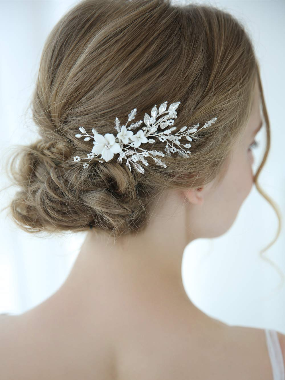 Aegenacess Wedding Hair Comb Silver Clips for Brides and Bridesmaids - White Flowers Side with Rhinestones Crystal Leaf Decorative Vintage Bridal Accessories Headpieces for Women and Girls by Aegenacess