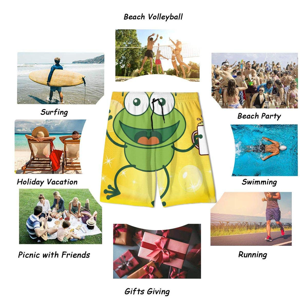 Happy Green Frog Holding Beer in Glass Teenagers Printed Funny Swim Trunks