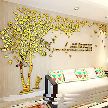 Amazon.com: Tree Birds 3D wall Decals Murals for Living Room Gold ...