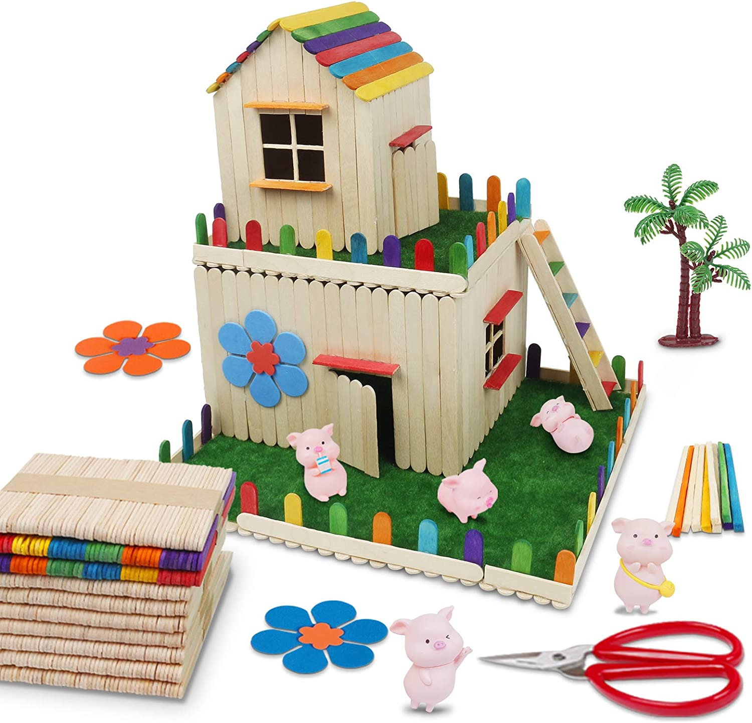 DIY Popsicle Stick House Kit with Garden Wooden House,Craft Sticks for Kids with Pig (Pig)