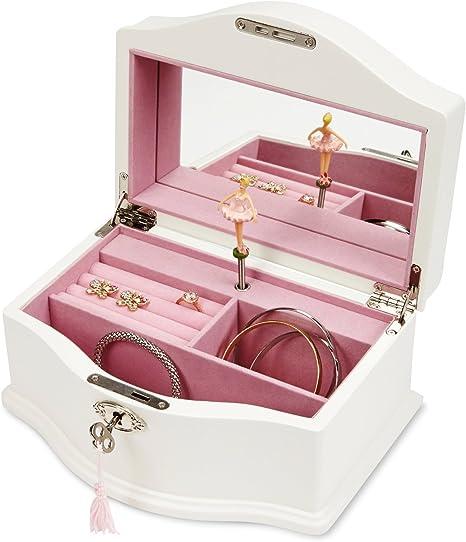 JewelKeeper Niñas Musical de madera caja de joyería con cerradura ...