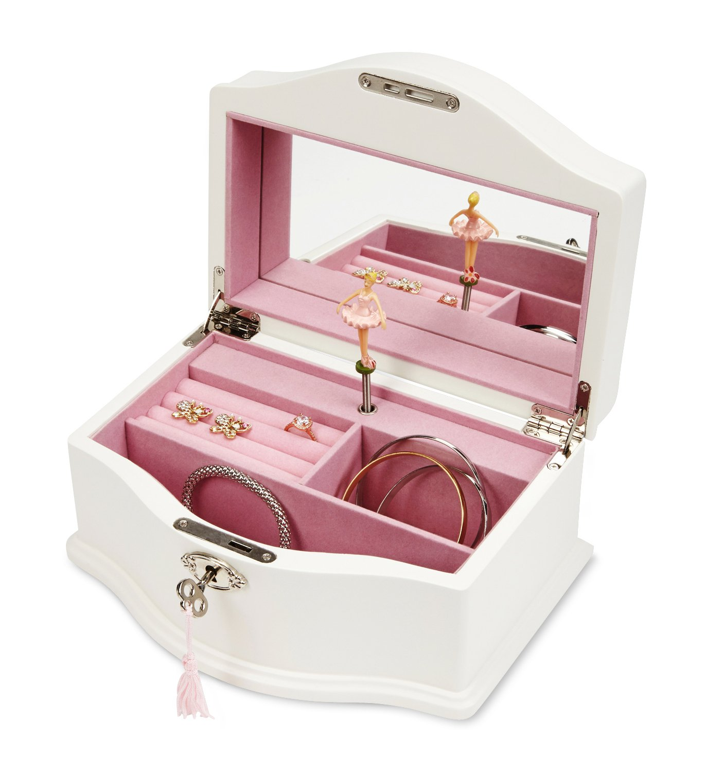 JewelKeeper Girls Wooden Musical Jewelry Box with Lock and Key, Classic Design with Ballerina and Mirror, Swan Lake Tune, White