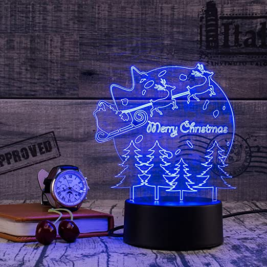 Amazon.com: 3d lámpara nocturna colorida luz litetop 7 ...