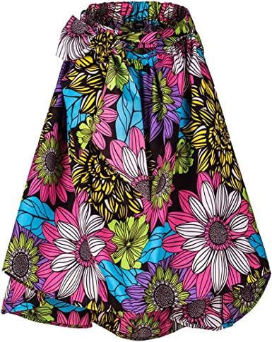 Afibi Women African Printed Casual Maxi Skirt Flared Skirt A Line Long Skirts with Pockets