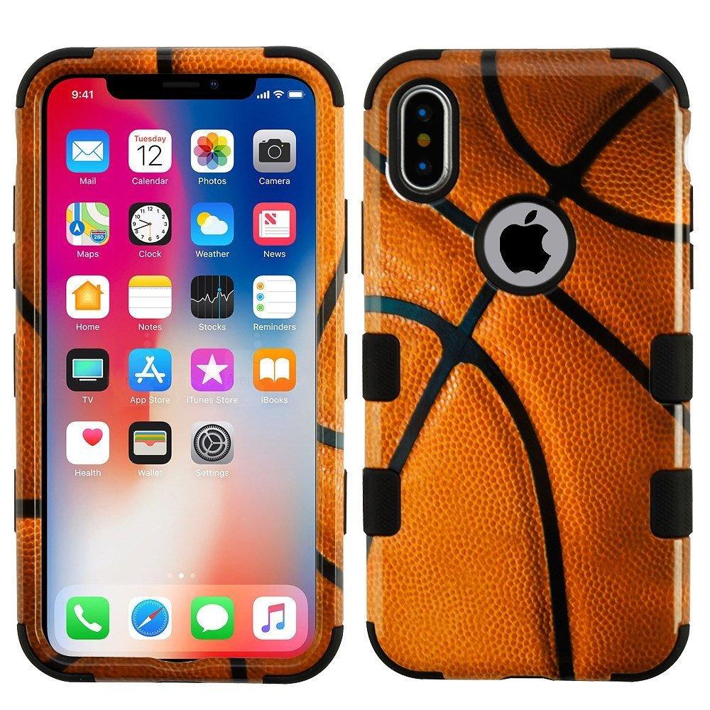 iPhone xケース、バスケットボールMYBATデュアルレイヤ[衝撃吸収]保護ハイブリッドPC / TPUラバーケースカバーfor Apple iPhone X、ブラウン/ブラックB076Q1TK77