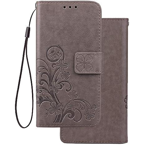 LEMORRY Funda para Xiaomi Redmi 4 4X Carcasa Tapa Bolsa Piel Cuero Flip Cover Billetera con Clips de Dinero Slim Protector Magnética Cierre TPU ...
