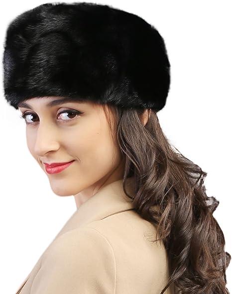 Mandys Womens Winter Warm Genuine Mink Fur Caps Below Zero Show Hats Black