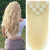 40cm-55cm Clip in Extensions Set 100% Remy Echthaar 8 Teilig 130g-160g Haarverlängerung dick Dopplet Tressen Clip-In Hair Extension ( 45cm-140g, Nr.60 Weißblond)