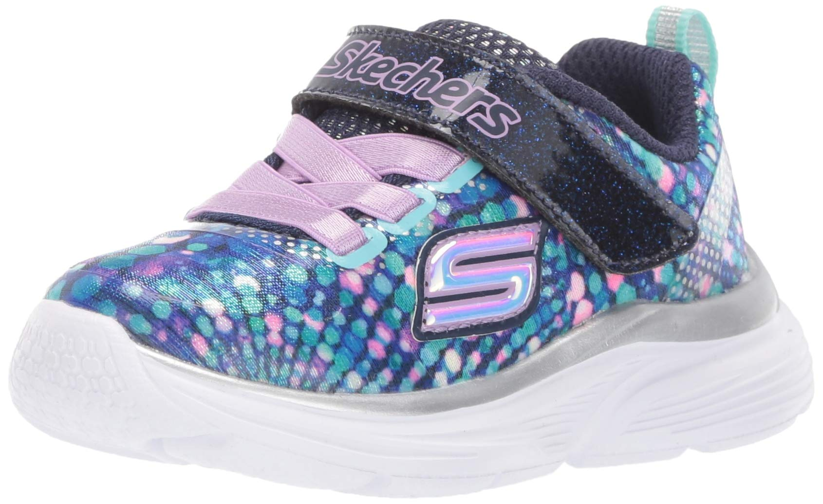 Skechers Kids Girls' Wavy Lites Sneaker, Navy/Multi, 1.5 Medium US Little Kid