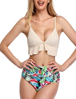 275c24b1293f8 SelfieGo Womens High Waisted Bathing Suits Ruffle Printed Tummy Control  Swimwear