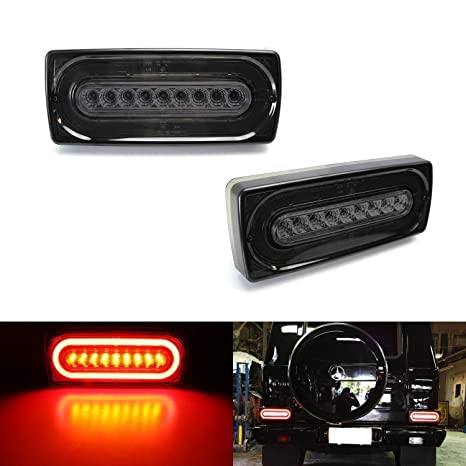 iJDMTOY Smoked Lens Laser Style Full LED Turn Signal Light Tail Lamps For  1999-18 Mercedes W463 G-Class G500 G550 G55 G63 AMG (2019 G Design)