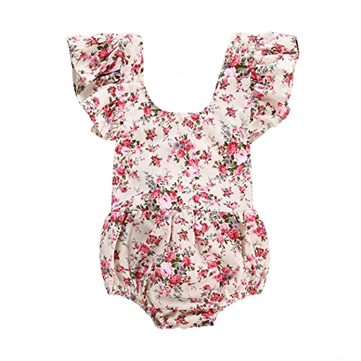3d0ef2c28504 Amazon.com  CKLV Baby Girls Floral Print Ruffle Romper Infant Kids ...