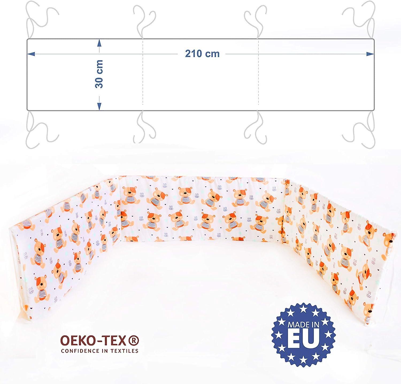 E4M Tour de lit b/éb/é 3 c/ôt/és tour de lit b/éb/é double rembourrage hypoallerg/énique certifi/é OEKO-TEX/® Made in EU Orsetti