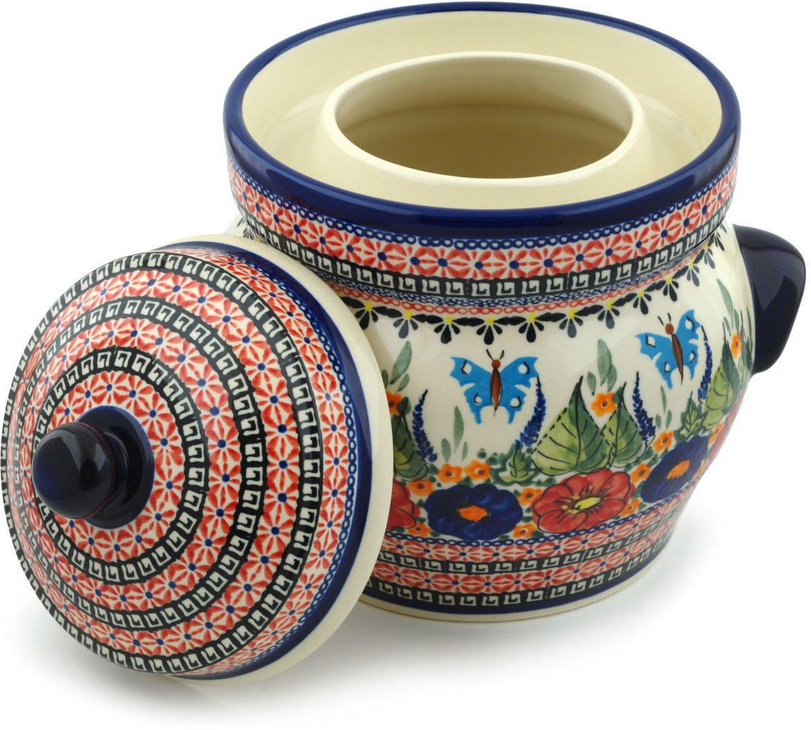 Polish Pottery Fermenting Crock Pot with Water Seal (14 Cups) Spring Splendor UNIKAT by Polmedia Polish Pottery