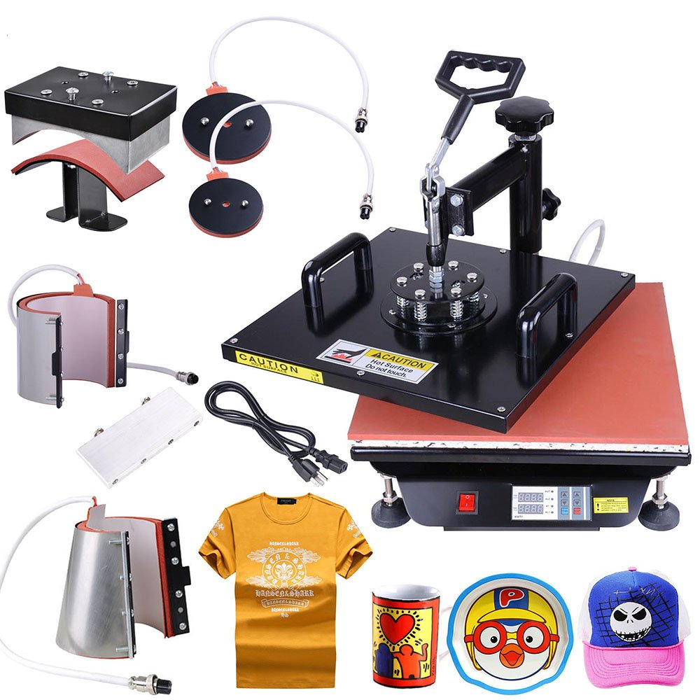 Yescom 6-in-1 15''x15'' Digital Heat Sublimation Transfer Press Machine for T-shirt Mug with Gloves by Yescom