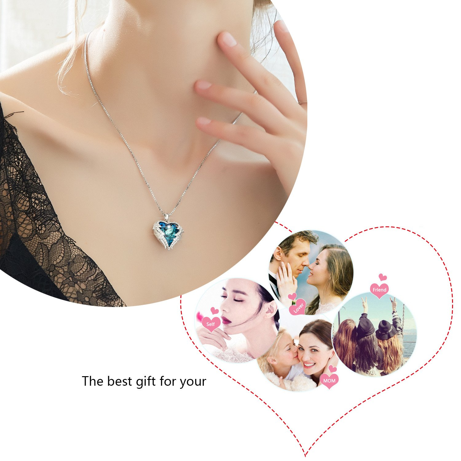 Ancreu Angel Wing Heart Pendant Necklace For Women Made Kalung Love Happiness With Swarovski Crystals B Blue Heartalloy Jewelry