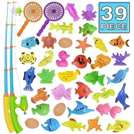 Angeln spielzeug, Badespielzeug, 39 Stücke Magnetisches Angeln spielzeug, Originales farbiges wasserdichtes schwebendes Spiel