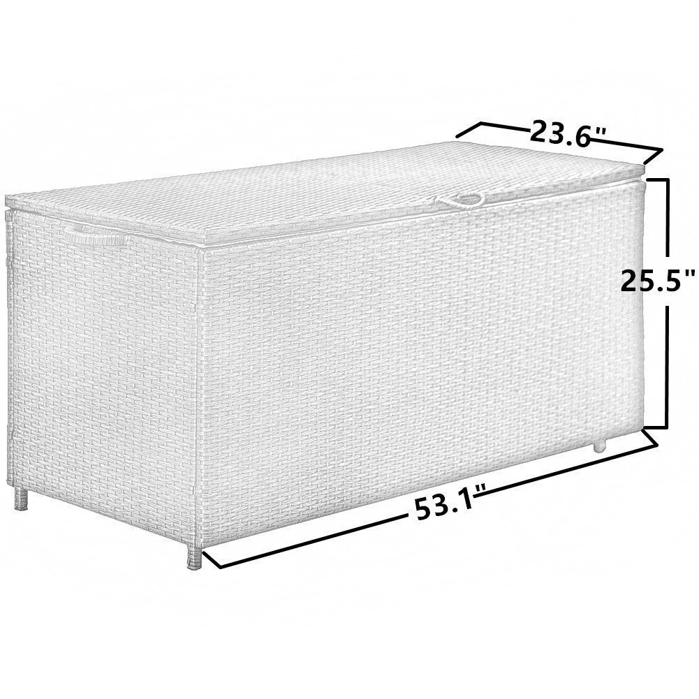 Storage Bin Deck Box PE Wicker Outdoor Patio Cushion Container Garden Furniture, Grey by PatioPost (Image #3)