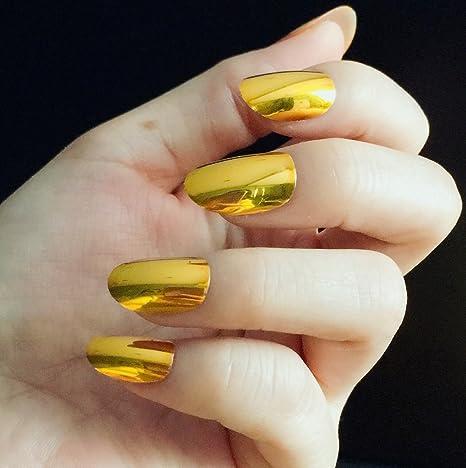 YUNAI 24PCS/SET Golden Metallic Uñas falsas Oval Espejo dorado Punk Uñas postizas para uña