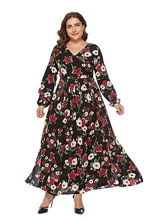 Falda Larga for Mujer, Vestido Estampado de Manga Larga de Gran ...