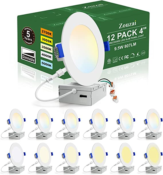 zouzai 12 Pack 4 Inch 5CCT Ultra-Thin LED Recessed Ceiling Light with Junction Box, 2700K/3000K/3500K/4000K/5000K Selectable, 9.5W 80W Eqv, Dimmable, led can Lights - ETL Certified