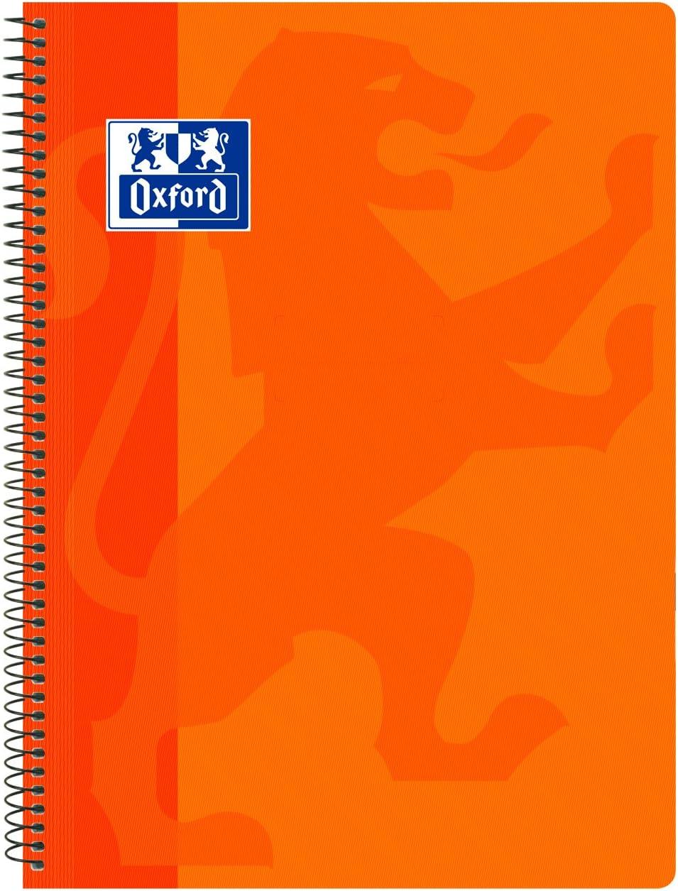 Oxford Classic - Cuaderno espiral, tapa plástico, cuadrícula 4x4, color naranja: Amazon.es: Oficina y papelería
