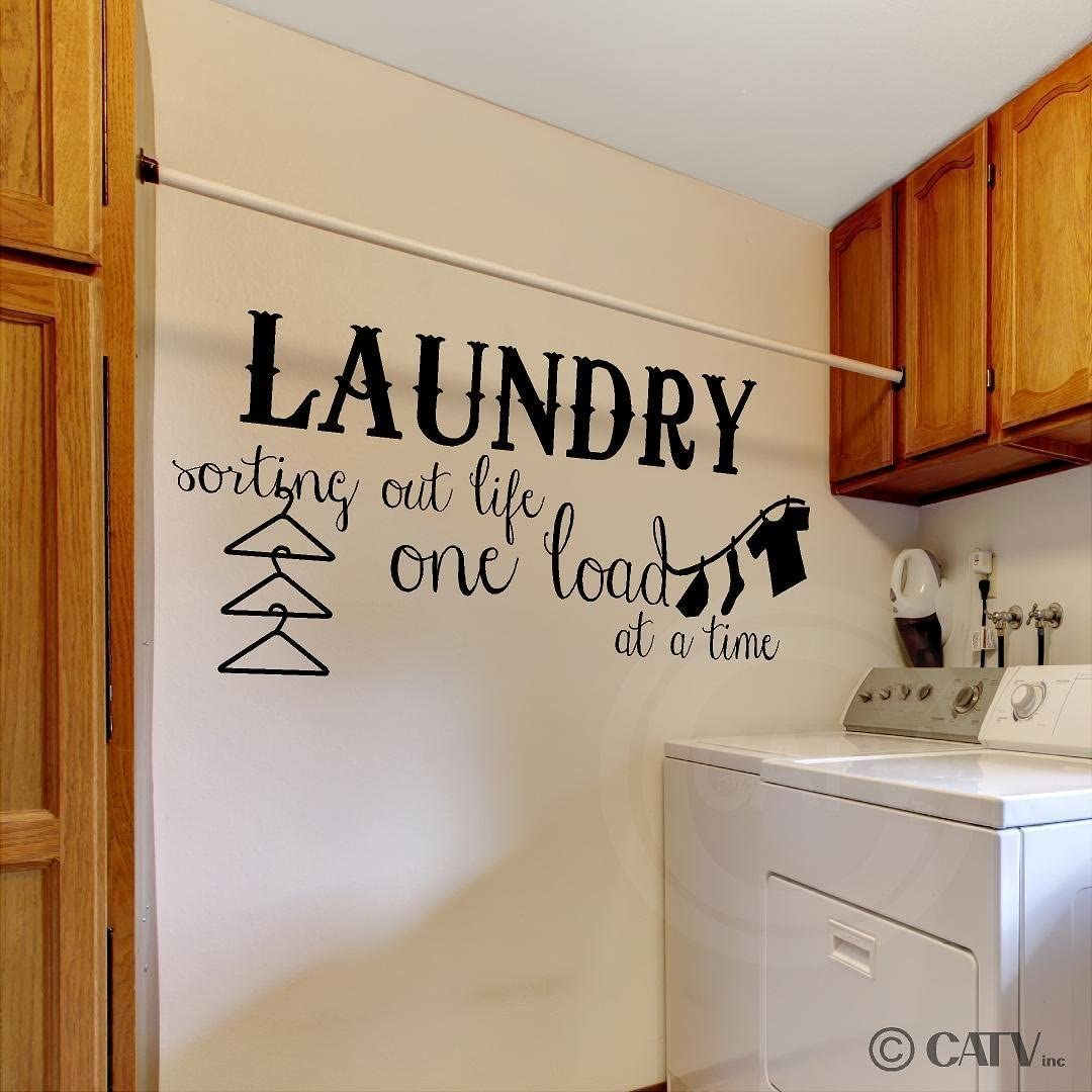 "Laundry Sorting Out Life One Load at a Time Vinyl Lettering Wall Decal Sticker (16""H x 38""L, Black)"