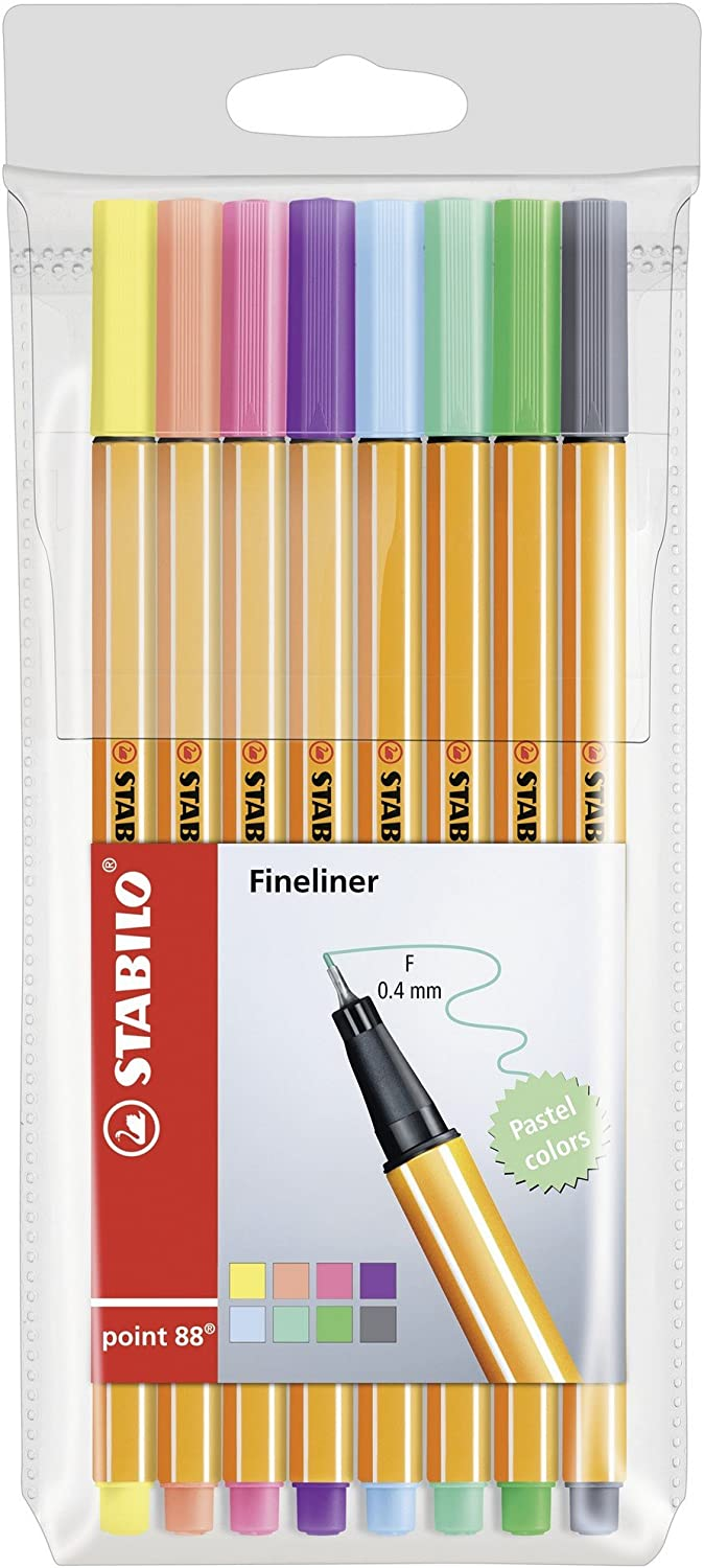 """Stabilo Point 88"""" Pastel Fineliner Pen   Assorted Colours (Pack Of 8) by Stabilo"""
