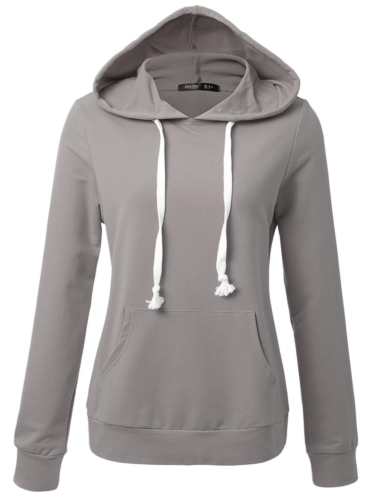 JayJay Women Long Sleeve Lightweight Casual Pullover Hoodie Sweatshirts With Kangaroo Pocket,MISTGRAY,2XL