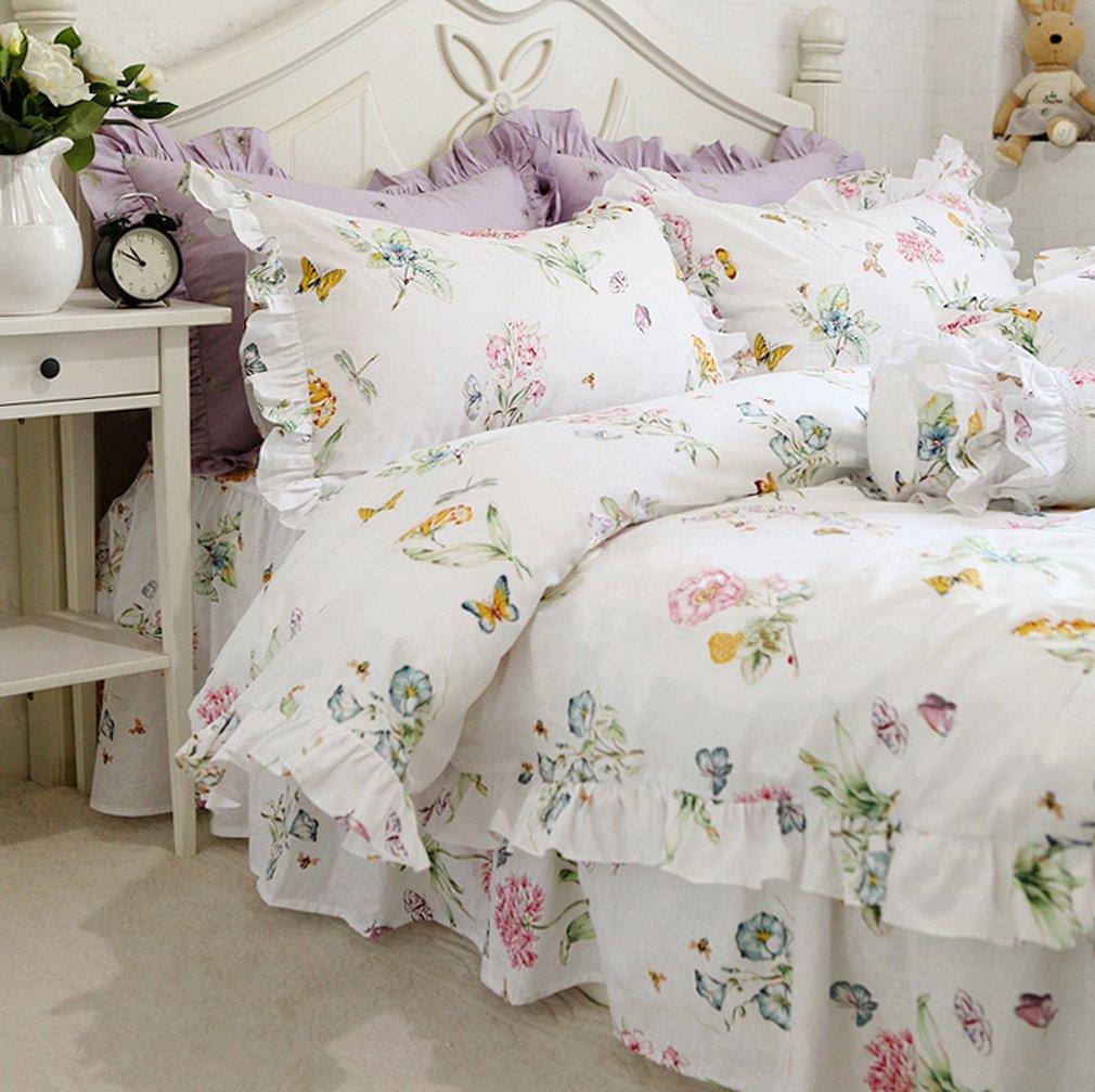 ホワイト掛け布団カバー ダブル 可愛い花柄 綿100% ベッドスカート/枕カバー B072MZPGFZダブル