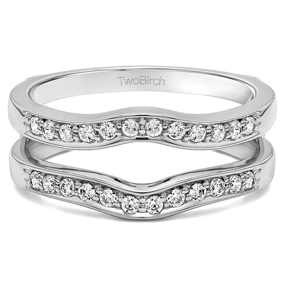 1/3 ct. Diamonds (G-H,I2-I3) Contour Shape Channel Set Enhancer Ring Guard in Sterling Silver (0.3 ct. twt.)