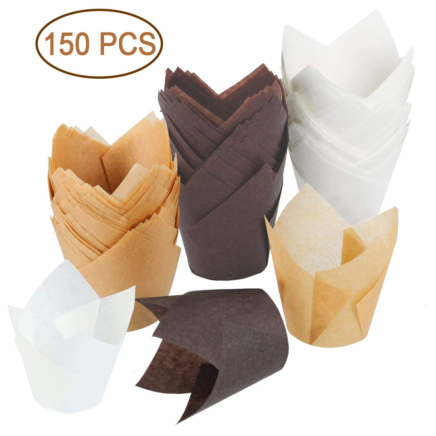 150 Pieces Tulip Baking Paper Cups Cupcake or Muffin Liners Wrappers, Tulip Baking Cup Holder for Weddings, Birthdays, Parties (Brown, Natural Color, White)