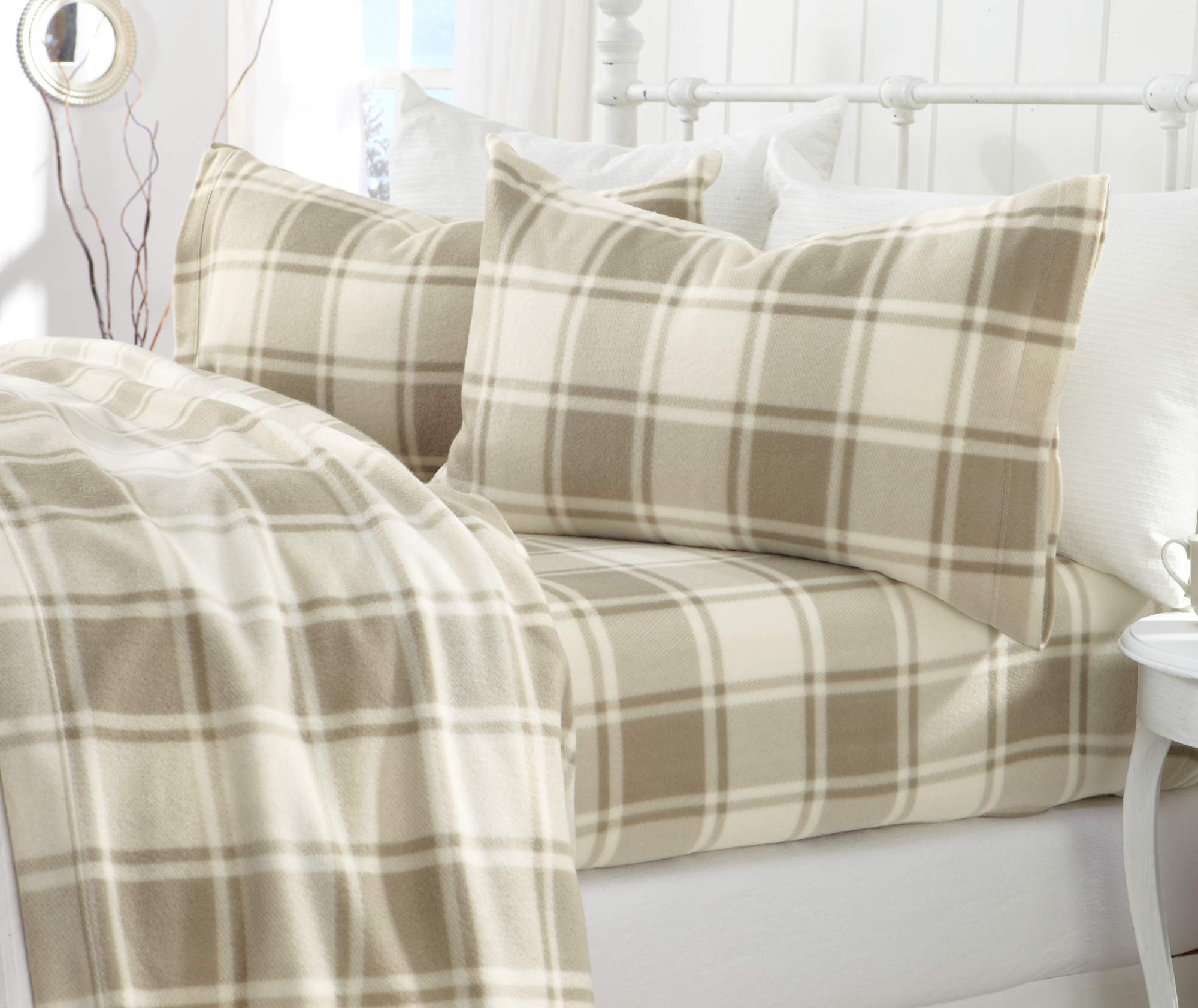 Great Bay Home Super Soft Extra Plush Plaid Polar Fleece Sheet Set. Cozy, Warm, Durable, Smooth, Breathable Winter Sheets with Plaid Pattern. Dara Collection Brand. (Full, Taupe) by Great Bay Home (Image #5)