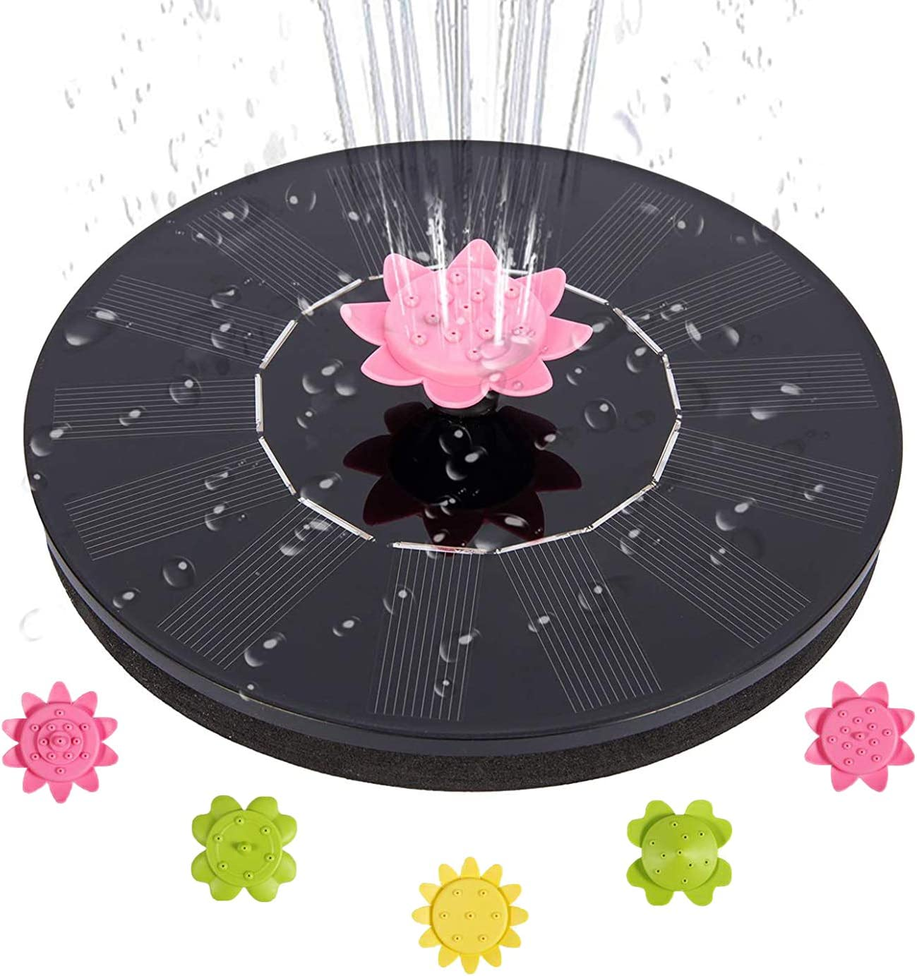 Solar Fountain Pump, 1.4W Solar Powered Fountain Pump with 5 Easy Install Nozzles, Solar Bird Bath Fountain Pump for Pond, Pool, Fish Tank, Aquarium and Garden