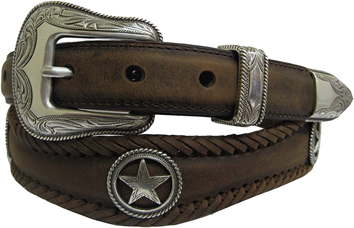 Pele Belt Men Oil-Tanned Leather Wavy Laced Silver Floral Buckle /& Conchos