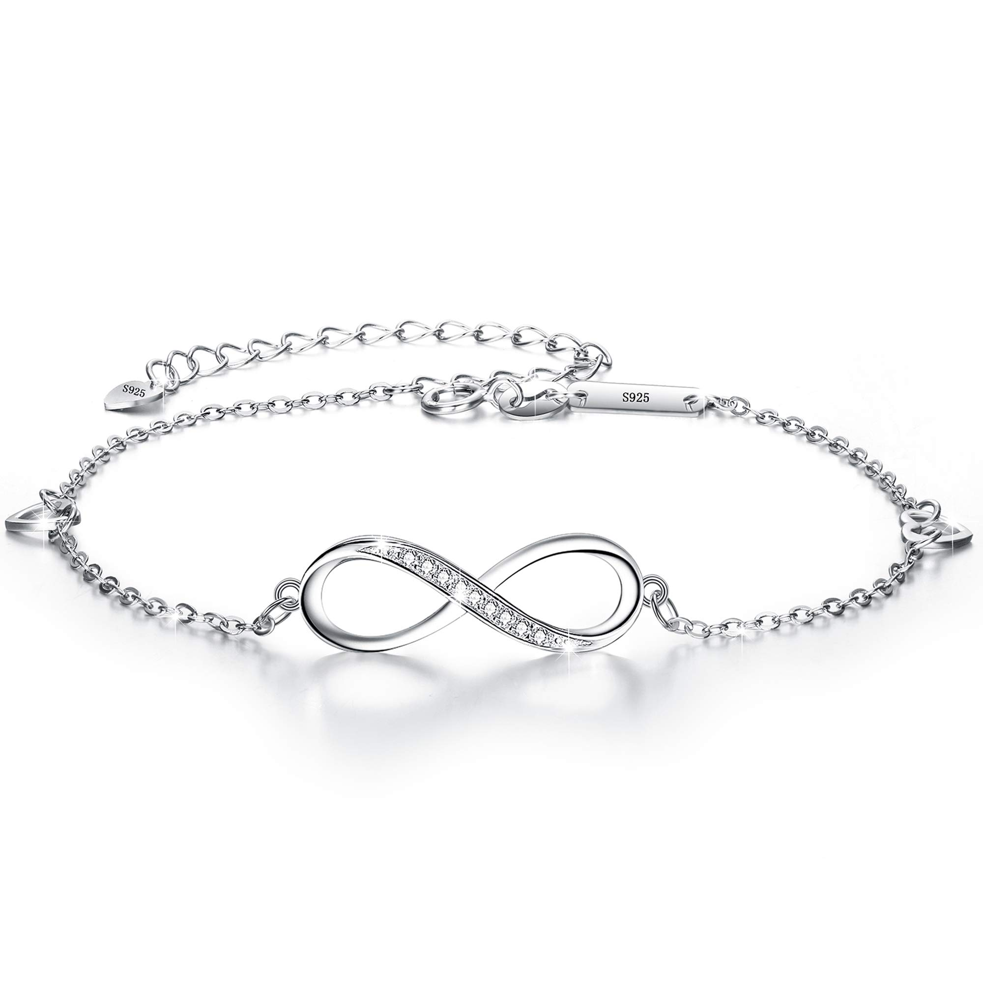 EVER FAITH Womens 925 Sterling Silver CZ Infinity Symbol Heart Adjustable Link Bracelet Clear