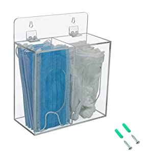 Aphbrada Acrylic Disposable Face Mask and Glove Dispenser Box Holder with Lid, Hairnet & Shoe Cover Dispenser, Bouffant Cap Dispenser, Can Hang on The Wall and Stand on The Table (Clear)