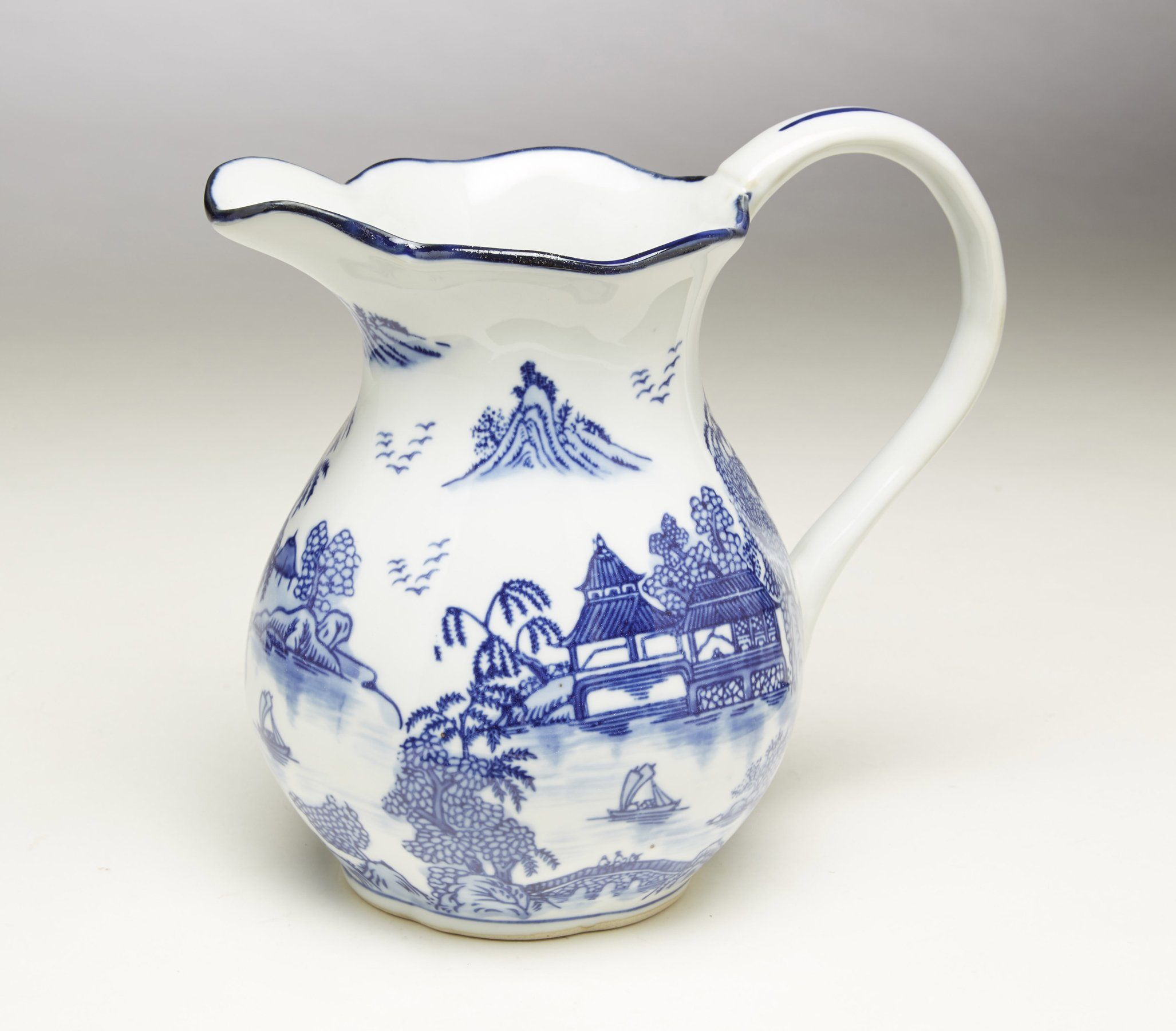 AA Importing 59809 8.5 Inch Blue & White Pitcher by AA Importing