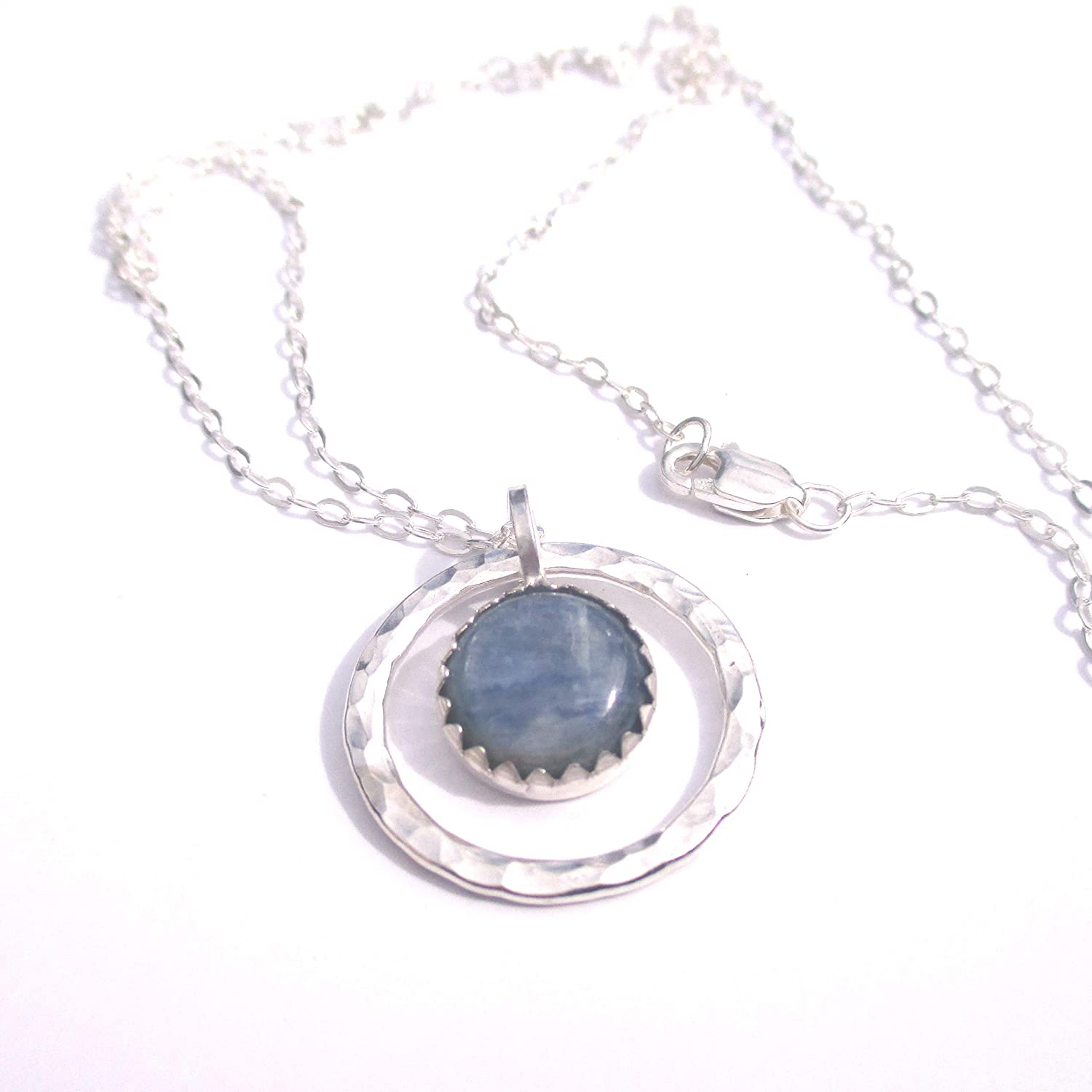 Kyanite Necklace with Hammered Silver Circle Pendant