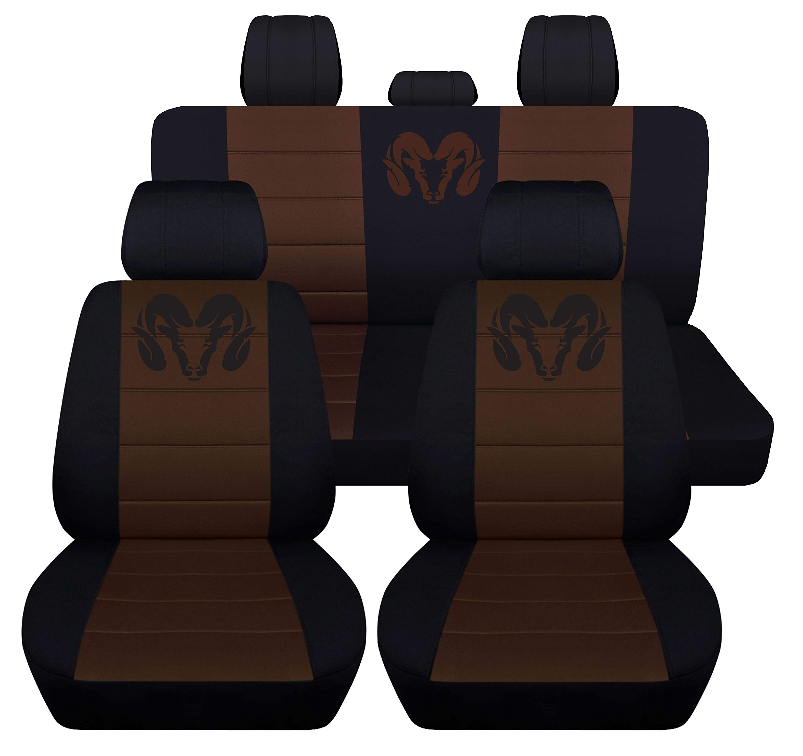 40 20 40 Front and Rear Seat Covers for 2013 to 2018 Dodge Ram 22 Color Options (Solid Rear Bench, Black Brown)