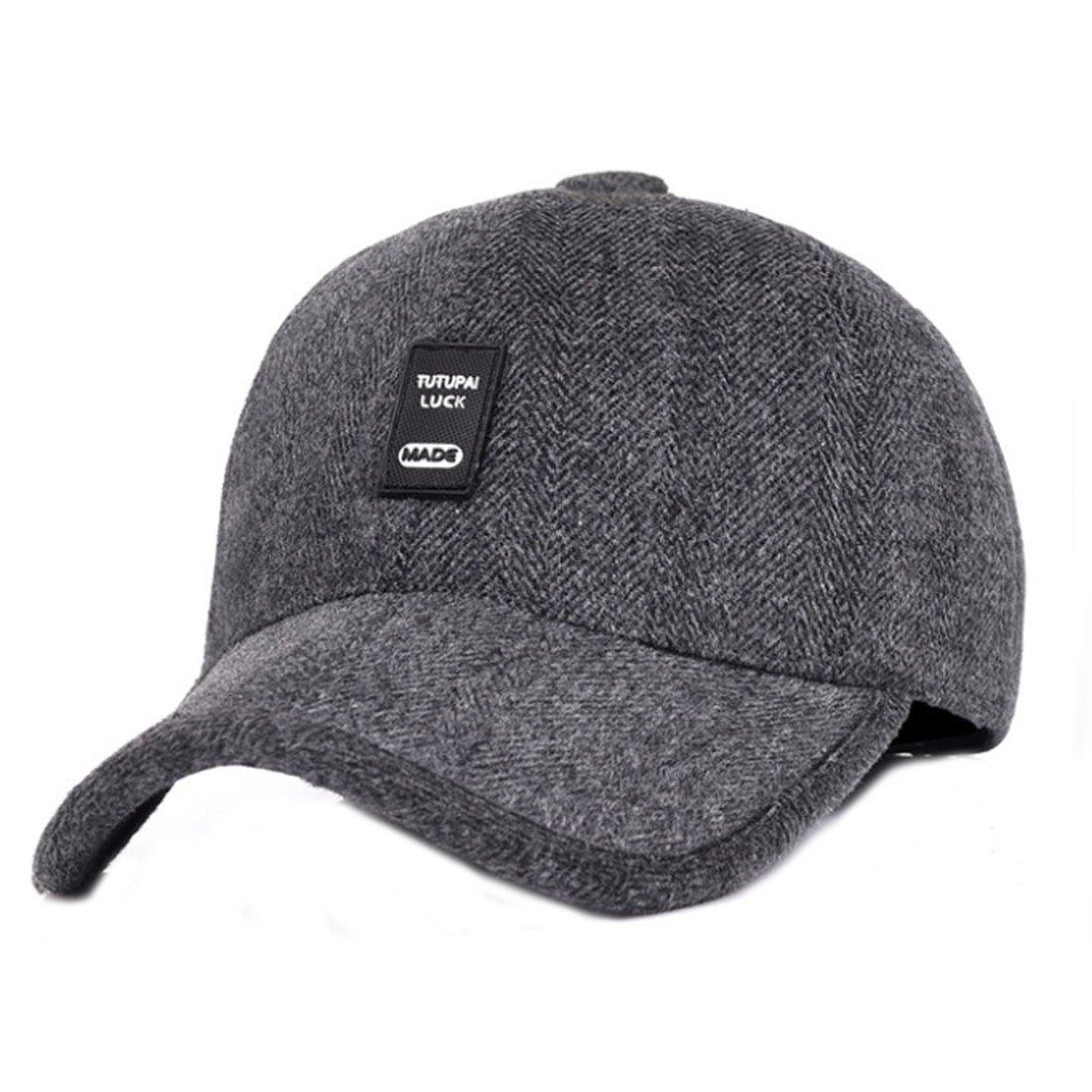 King Star Mens Winter Warm Wool Baseball Caps Hat with Fold Earflap