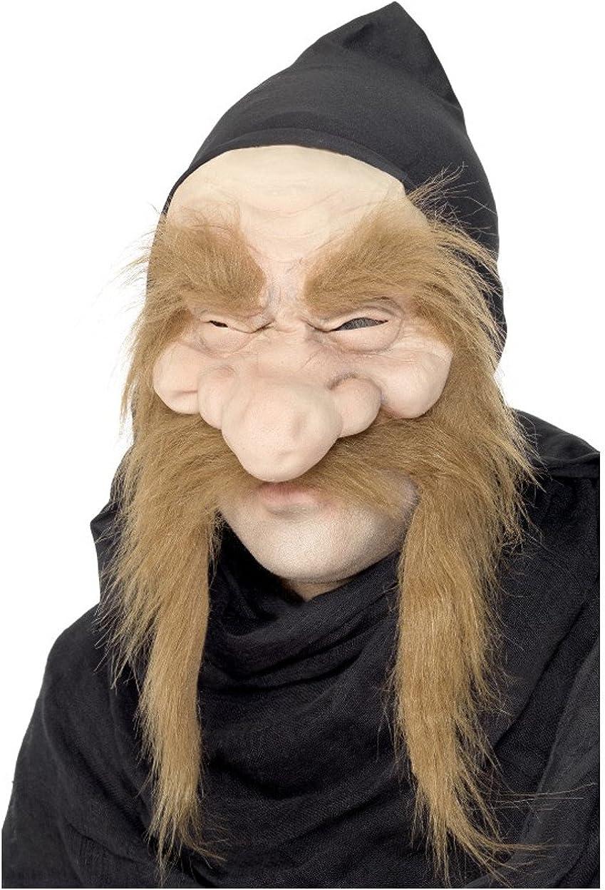 Adult Elf Gnome Dwarf Dwarves Brown Hat Beard Black Hair Wig Costume Accessory