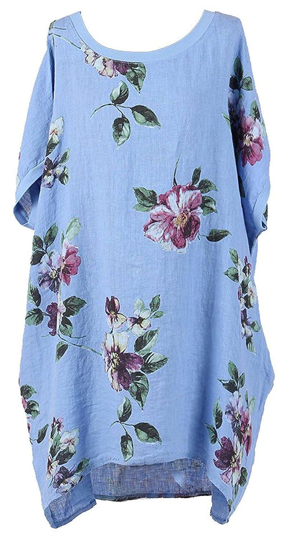 New Ladies Italian Floral Linen Baggy Top Women Summer Lagenlook Top Plus Sizes
