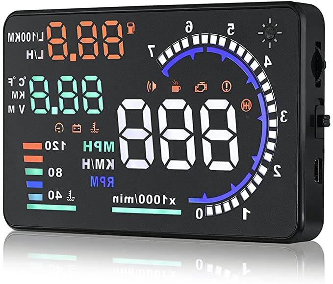 ZXLine A8 5.5 inches HUD Head Up Colorful Multifunction Display with OBD2 KM//h MPH RPM Speeding Warning