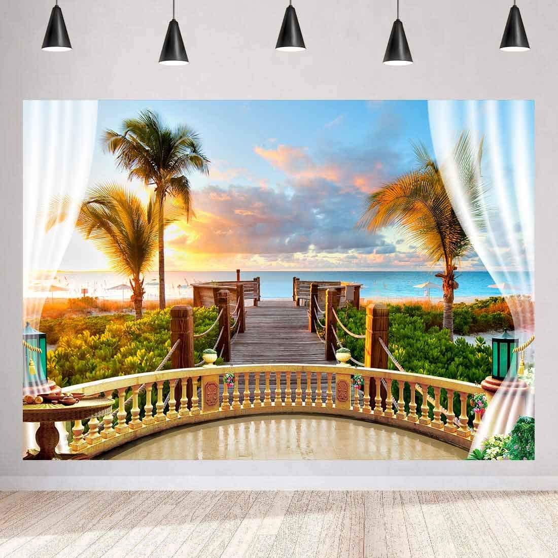 MEETSIOY Seaside Scenery Backdrop Wooden Bridge Railing Plant Sunset Sea Background Wedding Photography Ocean Theme Party Studio Props Background 10x7ft HUIMT072