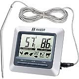 Habor Thermomètre de Cuisine Numérique avec Grand Ecran LCD, Longue Acier Inoxydable 304 pour Cuisine, Pâtisserie, Barbecue,Four, etc.