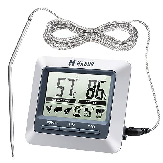 47 opinioni per Habor Termometro Cucina Timer, Termometro Digitale Grande LCD Display Sonda