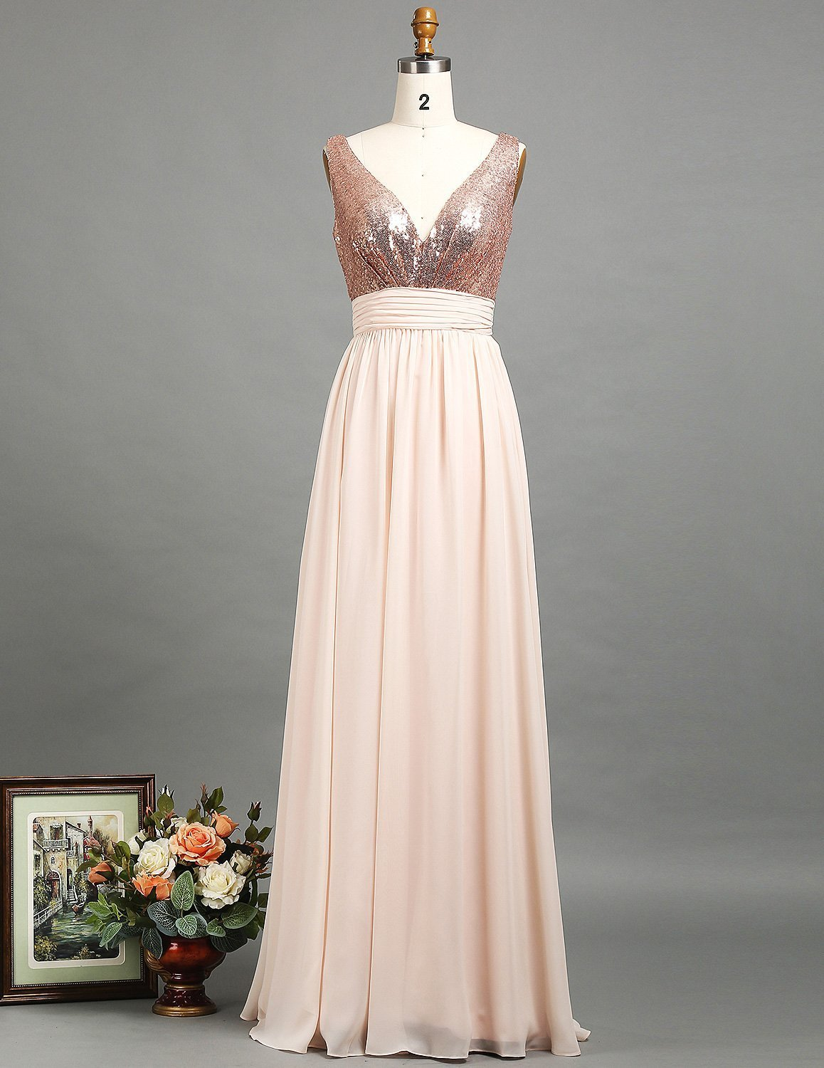 Open Back Long Bridesmaid Dress Rose Gold Sequin V Neck Wedding Prom Dress