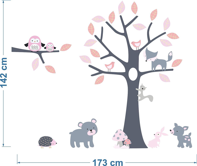 Wandtattoo kinder Babyzimmer Aufkleber Eule Eulen Wandsticker Wand Waldtiere Kinderzimmer Wandaufkleber Dekoration f/ürs Baby Kindergarten Baum Tiere kinderzimmer mit namen MK127 XL
